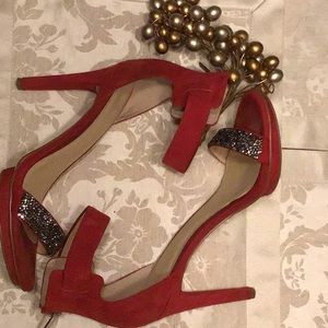 ✨Red Suede w/ Jeweled Accent Platform Women's 9.5M